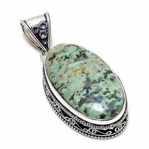 "Chrysocolla Gemstone 925 Sterling Silver Jewelry Vintage Pendant 2.17"" k869"