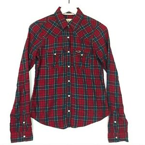 Hollister plaid snap front flannel shirt collared long sleeve red small cotton