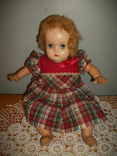 "Antique 14"" BABY COMPOSITION DOLL SLEEPY SLEEP EYES CLOTH BODY CRIER WORKS!"