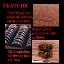 Di legno Monete Espositore Scatola Contenitore Custodia con 50Plastic Rotonda