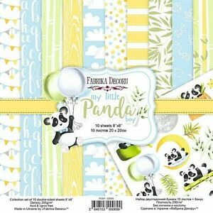 "8""x8"" scrapbooking paper cardstock My Little Panda Boy 10 sheets x 1 bonus sheet"
