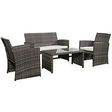 Outdoor Garden Patio 4-Piece Cushioned Seat Mix Gray Wicker Sofa Furniture Set