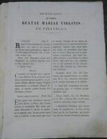 1865 FOGLIO VOLANTE PER MESSA E PREGHIERE PER VERGINE DEL PIRATELLO DI IMOLA