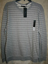 NEW Marc Anthony Crew Long Sleeve Heavy Tee shirt Gray Stripe Super Soft XL mens