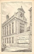 1884 ANTIQUE ARCHITECTURAL PRINT- NEW LIBRARY FOR HON SCTY OF GRAY'S INN