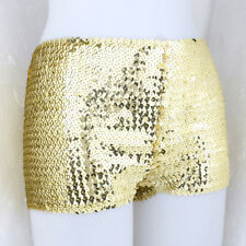 Sexy Womens Mini Shorts Glitter Sequin Stretchy Costume Dance Pants Boxer Briefs