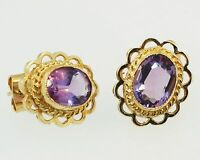 925 Sterling Silver Vermeil Natural Gemstone Amethyst Men's Cufflinks Jewelry