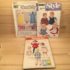 3pc SIMPLICITY & STYLE Vintage Baby Clothing Toddler Fashion Sewing Patterns
