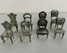 8 VINTAGE DECORATIVE COLLECTIBLE MINIATURE PEWTER CHAIRS/CARD HOLDERS, 4 DESIGNS