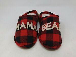 Dearfoams Women's Red Plaid Mama Bear Slippers Size 7-8 US