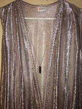 NWT LuLaRoe Medium Elegant Collection Joy Long Metallic Rose Gold Vest HOLIDAY