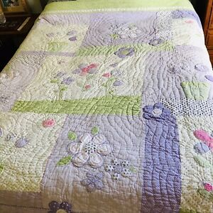Pottery Barn Kids Full Queen Quilt Lavender Patchwork Flowers Birds Girls 86x86
