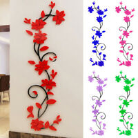 3D Flower Decal Mirror Wall Sticker DIY Removable Art Mural Home Room Decorative