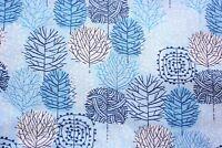 Cloud 9 Organic Cotton Poplin Blue Trees Dressmaking Quilting Sewing 1/2 Metre