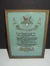 Vintage 1920's FRAMED ORDER OF EASTERN STARS ARTS & CRAFT STYLE PRINT
