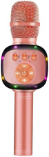 BONAOK Wireless Bluetooth Karaoke Microphone with Dual Sing, LED Lights, Portabl