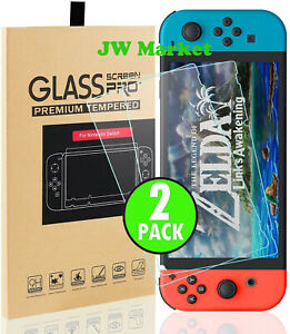 For Nintendo Switch Premium Tempered Ultra Clear Glass Screen Protector (2 Pack)