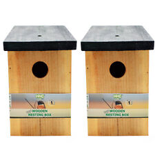 2x Quality Wooden Wild Bird Nest Wood Box House - Pressure Treated Long Lasting