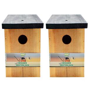 2x Quality Wooden Wild Bird Nest Wood Box House - Pressure Treated Long Lasting