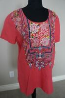 NEW Johnny Was JWLA Linen Embroidered V Neck Tee Tunic Top Blouse Pink S