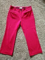 Essential Crop Flare by Anthropologie Hot Pink Trousers Pants Pockets Womens 6P