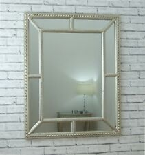Lawson Champagne Silver Beaded Frame Overmantle Rectangle Wall Mirror 96 X 79cm