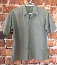 Cabana By CDF Mens Silk Blend Shirt Large Short Sleeve Green (K10)