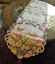 "Tulip & Butterfly Easter Spring Decor Table Runner 69""x 13"" Embroidered Design"