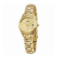 Seiko Women's Solar Gold Tone Stainless Steel Gold Tone Dial Watch SUT236
