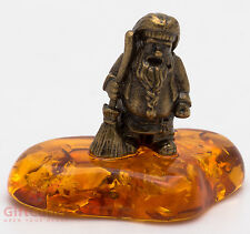 Solid Brass Amber Figurine warding charm Household Diety domovoi IronWork