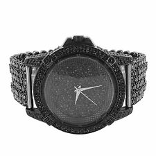 Men Hip Hop Iced out Black Tone Techno Pave Bling Simulated Diamond Rapper Watch