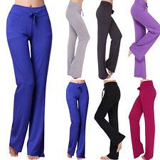 Women Yoga Pants Slim Low Waist Active Basic Flare Sports Legging Drawstring
