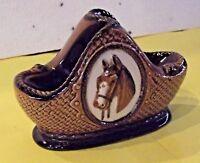 Ancien porte pipe cheval panier Horse porcelaine céramique vernis