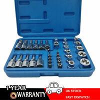34PCS Torx Star Socket & Bit Set Male Female E & T Sockets with Torx Bits + Case