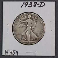 1938-D 50c WALKING LIBERTY HALF DOLLAR *KEY DATE COIN* LOT#K459
