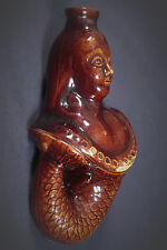RARE EARLY 1800s MERMAID FLASK ROCKINGHAM GLAZE YELLOW WARE MINT