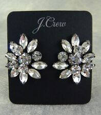 """NEW J. CREW STACKED CRYSTAL CLUSTER EARRINGS 1-1/4"""" x 1"""" BUTTERFLY BACKS BLACK"""
