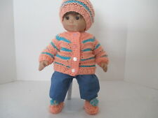 """Peach and Turquoise Striped Sweater, Hat and Booties Set for 15"""" Doll"""