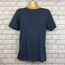 Farah Vintage Da Uomo UK M NAVY BLU GIROCOLLO T SHIRT ESTATE VACANZE