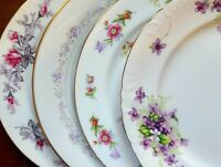 """Set of 4 Mismatched China 10"""" Dinner Plates - Pink & Purple Florals w/ Gold"""
