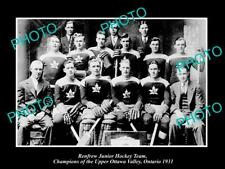 Old 6 X 4 Historic Photo Of Renfrew Ontario, Ice Hockey Team Champions 1931