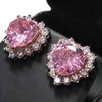 Sparkling Pink Sapphire Heart Earring Stud Women Jewelry 14K Rose Gold Plated