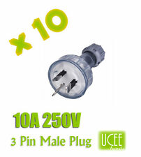 10x 3 Pin 10A 250V Male Plug electrical