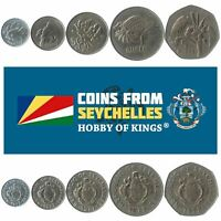 SET OF 5 COINS FROM SEYCHELLES. 1, 25, 50 CENTS, 1, 5 RUPEES. 1977