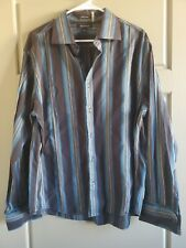 BRANDINI SHIRT SIZE XL STRIPE BLACK BLUE LONG SLEEVE BUTTON UP 100% COTTON
