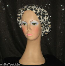 Handmade Women's Fleece Hat - Leopard print - Black ribbon bow - One Size