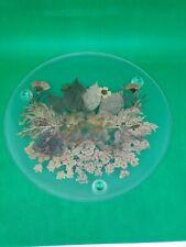 "Vintage 8"" Circle Trivet Coaster W/Feet & Pressed Dried Flowers In Glass"