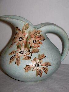 Green Art Design Jug w Orange Flowers 15x13.5cm Circa 1950's Unique Design