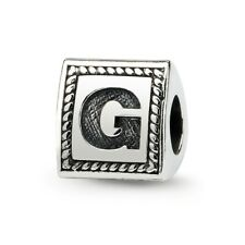 Letter G Triangle Block Bead .925 Sterling Silver Antiqued Reflection Beads