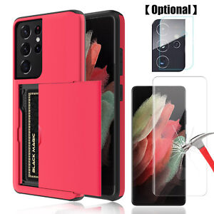 For Samsung Galaxy S21 Ultra 5G Card Wallet Holder Case Camera&Screen Protector